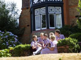 pupils talking outside