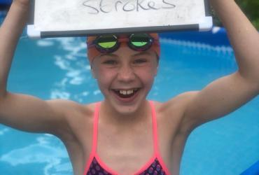 Connie completes her fundraising swim