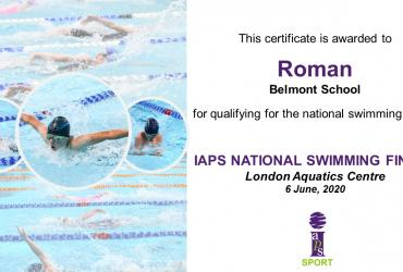 IAPS National Swimming Championships Certificate