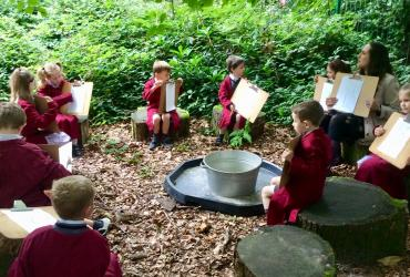 Year 2's art class in the woods